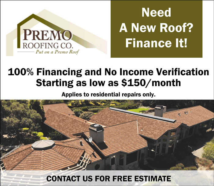Premo Roofing - Need a new roof? Finance it. 100% financing and no income verification starting as low as $150/month. Applies to residential repairs only. Contact us for a free estimate.