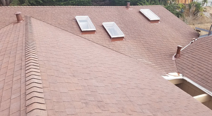 Composition roof after professional cleaning